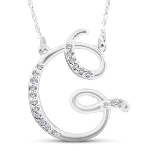 "1/4ct Diamond ""G"" Initial Pendant 18"" Necklace 14K White Gold (G/H, I2)"