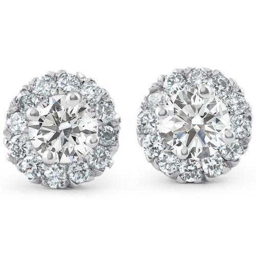 7/8ct Halo Diamond Studs 14k White Gold (J-K, I2-I3)