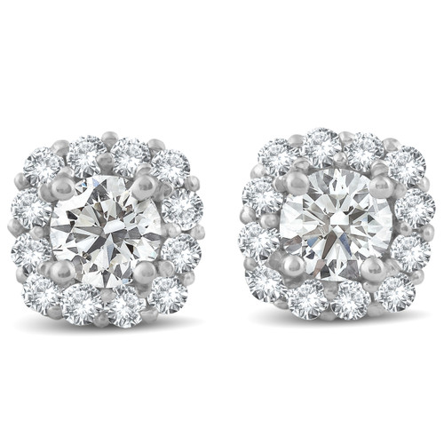 1 1/2ct Diamond Cushion Halo Studs 14k White Gold (J-K, I2-I3)