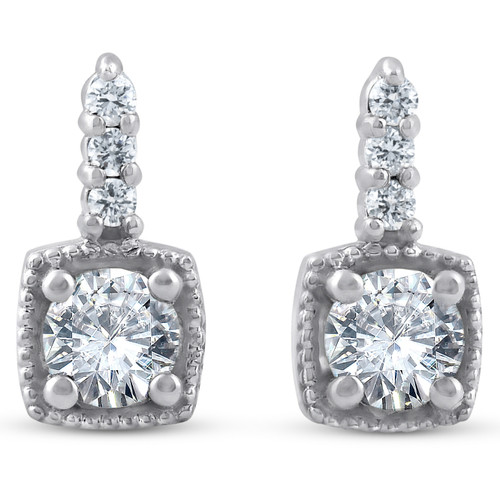 3/4ct Diamond Cushion Framed Drop Earrings 14k White Gold Petite 11mm Tall (J, I2-I3)