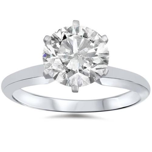 1 3/4ct Solitaire Round Diamond Engagement Ring 14K White Gold (G/H, I1-I2)