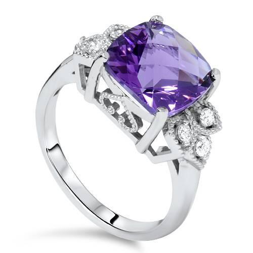 4 1/4ct Cushion Amethyst Vintage Diamond Ring 14K White Gold (G/H, I1)