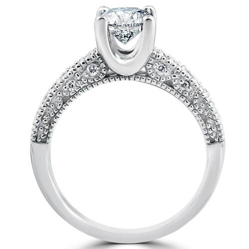 1 1/10ct Vintage Pave Diamond Engagement Wedding Ring Set 14K White Gold (G/H, I1)