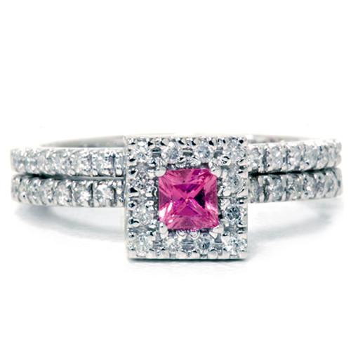 5/8ct Princess Cut Pink Sapphire & Diamond Engagement Wedding Ring Set 14K White Gold (G/H, I2)