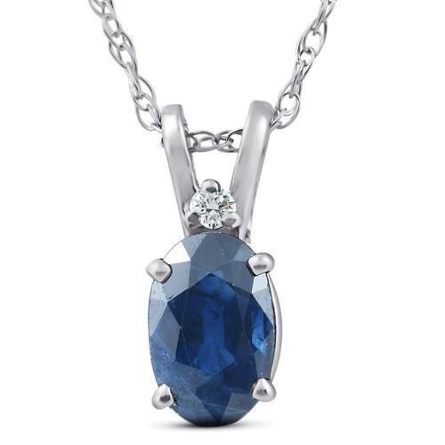 "Diamond & Blue Sapphire Oval Shaped Solitaire Pendant 14K White Gold & 18"" Chain (G, I2)"
