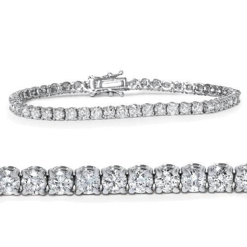 "18K White Gold 4 Ct Diamond Tennis Bracelet 7"" (G/H, I1-I2)"