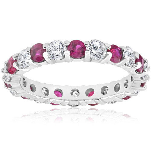 2 ct Ruby & Diamond Eternity Ring 14K White Gold Womens Stackable Wedding Band (G/H, I1)