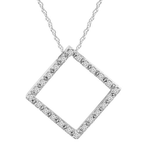 "1/4CT Diamond Pendant 10K White Gold 7/8"" Tall (H-I, I1)"