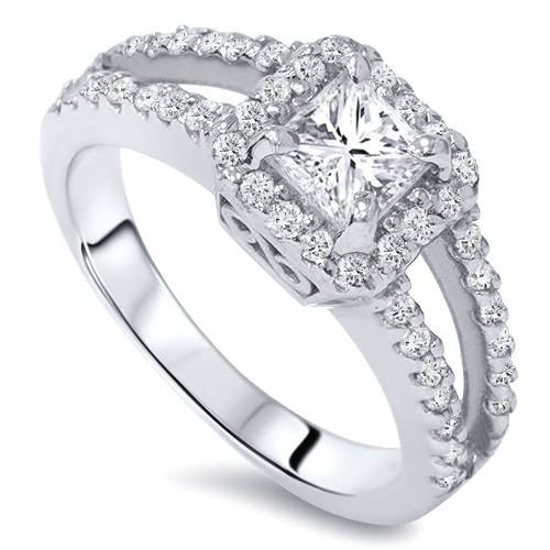 1ct Halo Split Shank Princess Cut Vintage Diamond Engagement Ring 14K White Gold (G/H, I2)