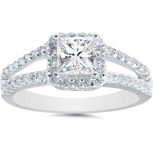 1ct Halo Split Shank Princess Cut Vintage Diamond Engagement Ring 14K White Gold (G/H, I2)