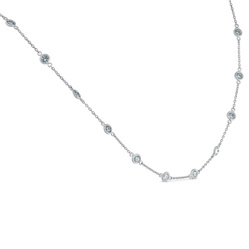"1 3/4 Ctw Diamond Bezel Station Necklace 14K White Gold 18"" (G-H, SI)"