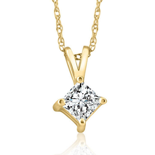 14k Gold Princess Cut 3/8ct Diamond Solitaire Pendant Enhanced (G/H, I1)