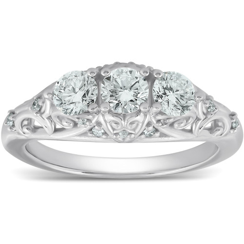 1ct Three Stone Vintage Engagement Unique Ring With Accents 14k White Gold (G/H, I1-I2)