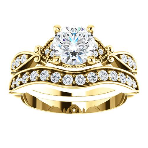 1 1/2ct Diamond Vintage Engagement Matching Wedding Ring Set 14k Gold Yellow ((G-H), SI(1)-SI(2))