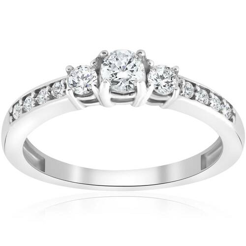 3/4ct Three Stone Round Diamond Engagement Ring 14K White Gold (I-J, I2-I3)