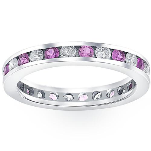 1 1/2ct Pink Sapphire & Diamond Eternity Channel Set Wedding Ring 14k White Gold (G/H, I1-I2)