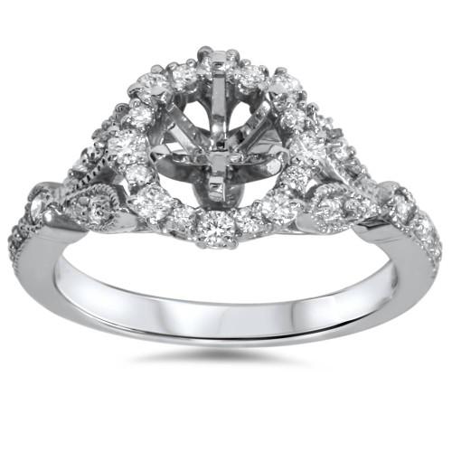 3/8ct Vintage Halo Diamond Engagement Setting 14k White Gold Semi Mount (H-I, I1)