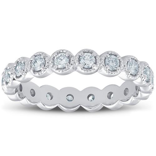 3/4ct Staclable Diamond Wedding Vintage Eternity Ring 14k White Gold (H/I, I1-I2)