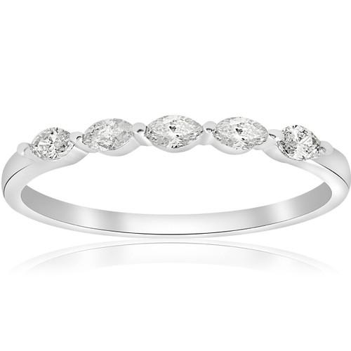 1/2ct Marquise Diamond Five Stone Wedding Ring 14K White Gold (G/H, SI2)