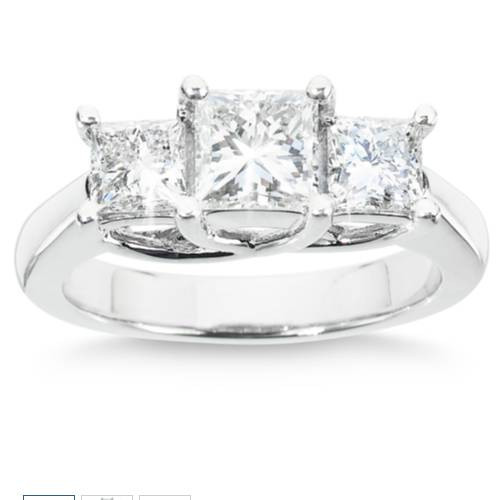 1 1/2ct Three Stone Diamond Ring 14K White Gold (H/I, SI)