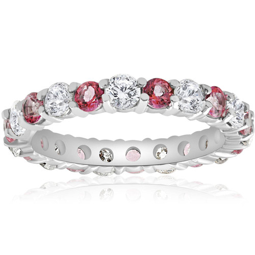 2 CT Diamond & Pink Topaz Eternity Ring 14K White Gold (G/H, I1-I2)