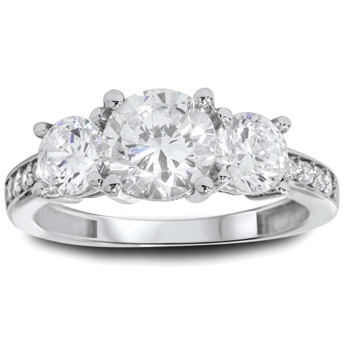 1 3/4ct Three Stone Round Diamond Engagement Ring 14K White Gold (H, SI2)