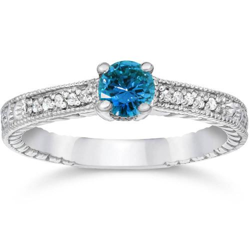 1/2ct Blue & White Diamond Vintage Engagement Ring 14K White Gold (G/H, I1-I2)