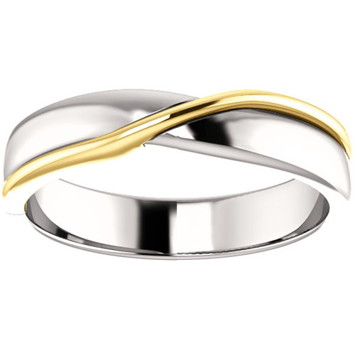 5mm 14k White & Yellow Gold Polished Comfort Fit Two Tone Wedding Band