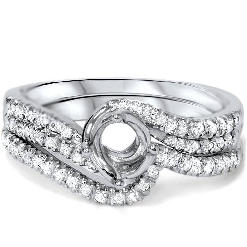 1/3ct Twist Diamond Engagement Wedding Ring Mount Set 14K White Gold (G/H, I1)