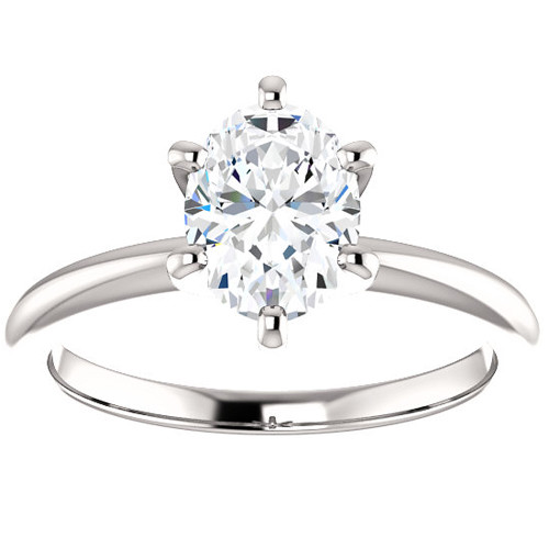 Platinum 1 Ct Oval Diamond Solitaire Engagement Ring ((G-H), SI(1)-SI(2))