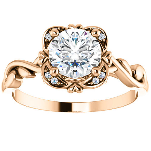 1ct Solitaire Diamond Vintage Cushion Halo Engagement Ring 14k Rose Gold ((G-H), SI(1)-SI(2))