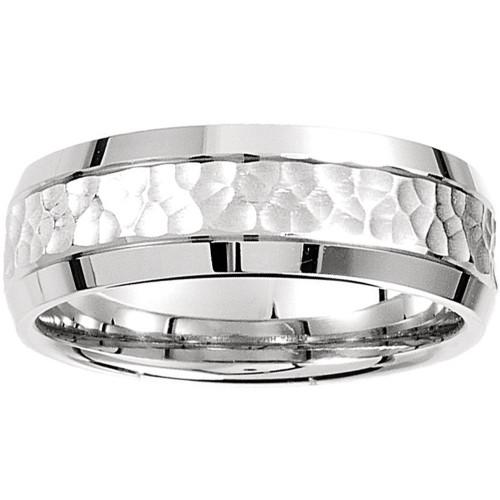 Mens 14k White Gold Hammered Beveled Edge 7MM Wedding Band Ring