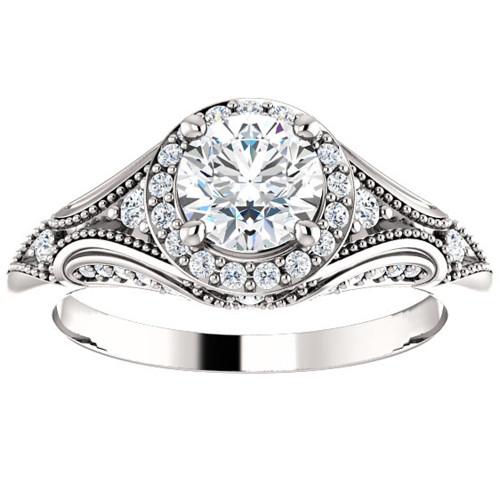 1ct Vintage Diamond Engagement Round Halo Ring 14k White Gold ((G-H), SI(1)-SI(2))