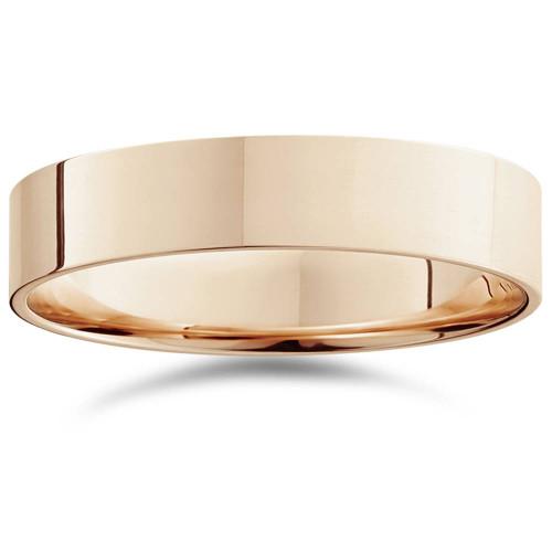 5mm Flat High Polished Wedding Band 14K Rose Gold