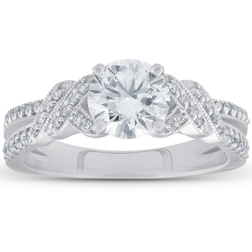 1 1/2ct Vintage Diamond Engagement Ring 14k White Gold Round Brilliant Cut ((G-H), SI(1)-SI(2))