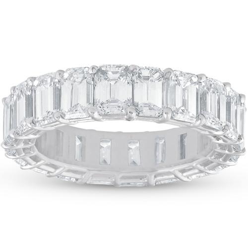 7ct Emerald Cut Diamond Platinum Eternity Ring ((F), VS1-VS2)