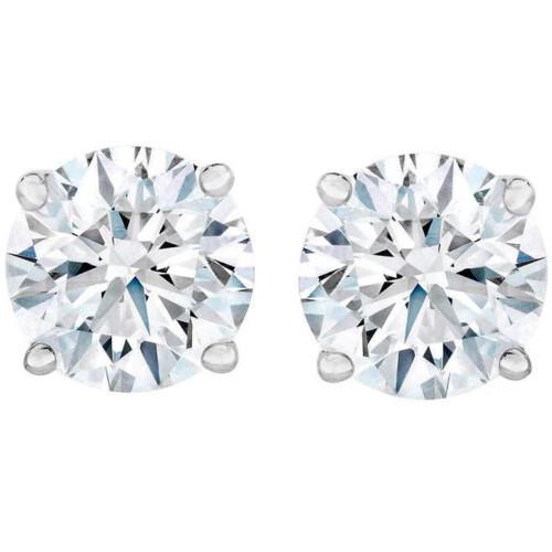 4.23 cttw Round Diamond Studs 14k White Gold (D, I2)