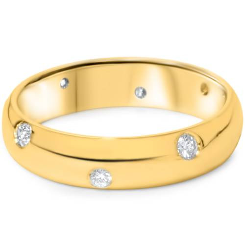 1/2ct Bezel Diamond Eternity Wedding Ring Yellow Gold (H/I, SI)