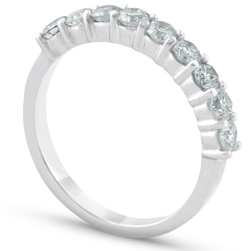1/2ct Diamond 9-Stone Womens Wedding Ring 14k White Gold ((G-H), SI(1)-SI(2))