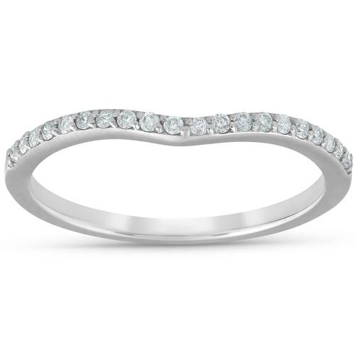 1/8cttw Diamond Curved Wedding Engagement Guard Enhancer Band 14k White Gold (G/H, I1-I2)