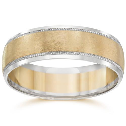 Mens 14k White & Yellow Gold Two Tone Wedding Band Ring