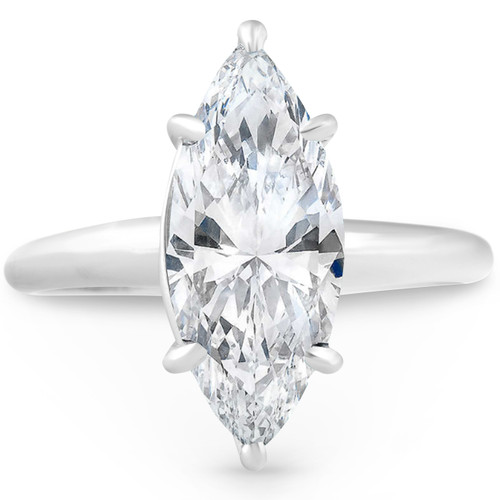 2 3/4 ct Marquise Shape Diamond Solitaire Engagement Ring White Gold (G, SI1)
