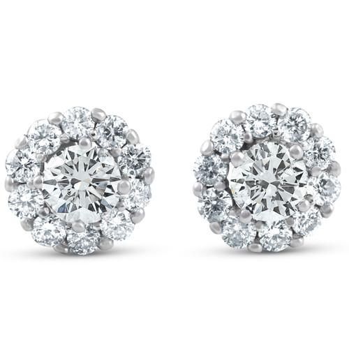 1ct Halo Round Diamond Studs 14k White Gold (J-K, I2-I3)