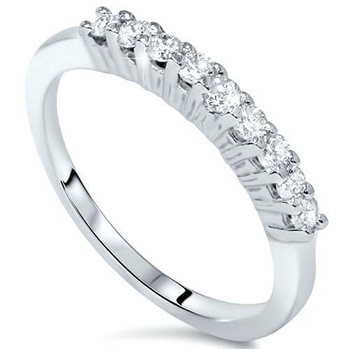 5/8ct 9 Stone Diamond Wedding Ring 14K White Gold (G/H, VS2-SI1)