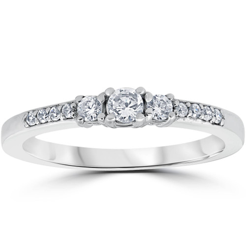 1/3ct Three Stone Round Diamond Engagement Ring 14K White Gold (H, SI2)
