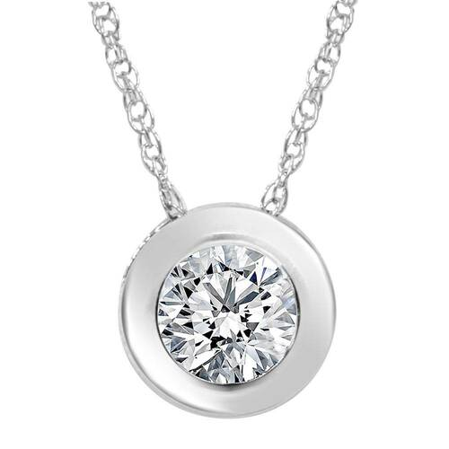 1/2ct Round Bezel Solitaire Diamond Pendant Necklace 14K White Gold (G, SI2)