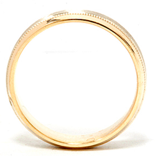 Mens White & Yellow Gold Two Tone Wedding Ring Band 14K