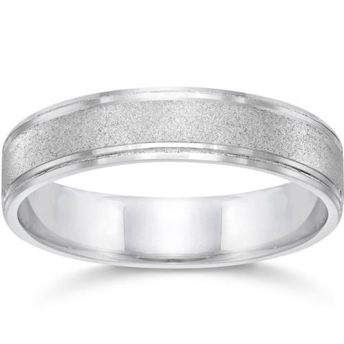 Brushed Wedding Band 5mm 10K White Gold