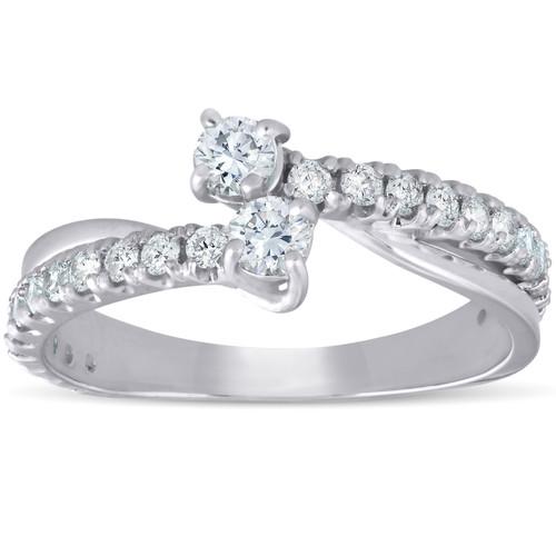 1Ct Two Stone Diamond Engagement Forever Us Ring 14K White Gold Anniversary Band (G-H, I1-I2)