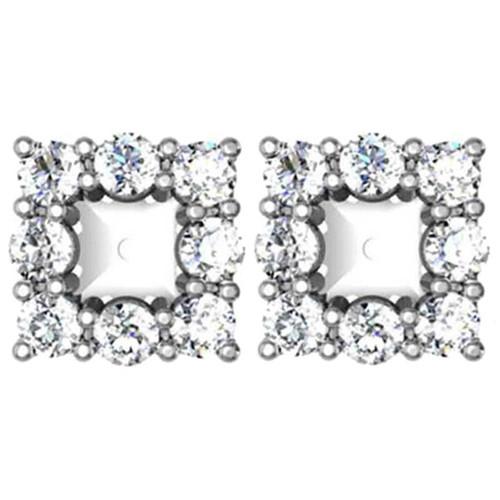 7/8ct Diamond Earring Princess Cut Studs Jackets 14K (2.5-3.5mm) (G-H, SI)